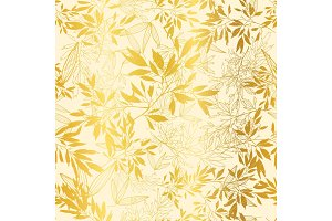 Vector Gold Yellow Leaves and Branches Repeat Seamless Pattern Background. Can Be Used For Fabric, Wallpaper, Stationery, Packaging.