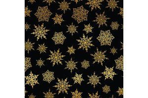 Vector golden and black snowflakes seamless repeat pattern background. Great for winter holiday fabric, giftwrap, packaging, covers, invitations.