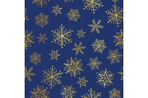 Vector golden and nay blue snowflakes seamless repeat pattern background. Great for winter holiday fabric, giftwrap, packaging, covers, invitations.