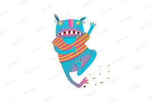 Fun Colorful Running Scared Monster