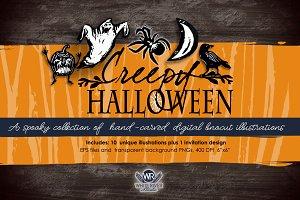 Creepy Halloween Linocuts