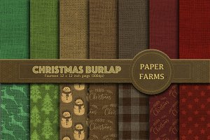 Christmas burlap digital paper