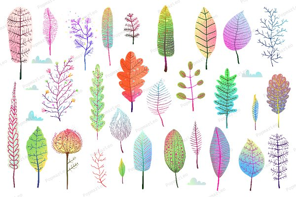 Fall Leaves Colorful Collection