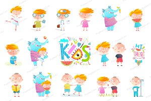 Kid Boy and Girl Collection Clipart