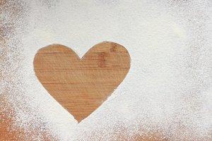 Heart on flour