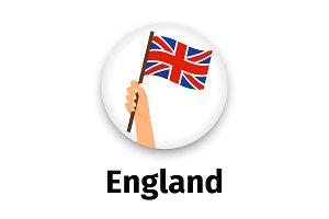 England flag in hand, round icon