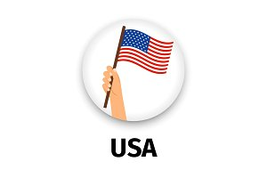 USA flag in hand, round icon