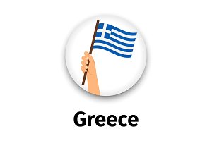 Greece flag in hand, round icon