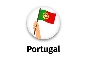 Portugal flag in hand, round icon