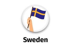 Sweden flag in hand, round icon