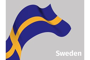 Background with Sweden wavy flag