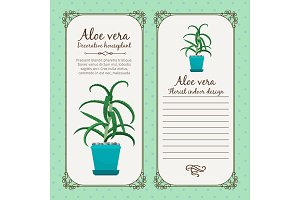 Vintage label with aloe vera plant