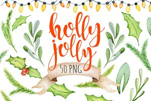 Christmas floral watercolor clipart