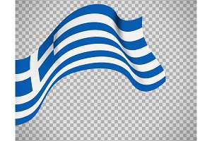 Greece flag on transparent background