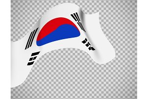 South Korea flag on transparent background