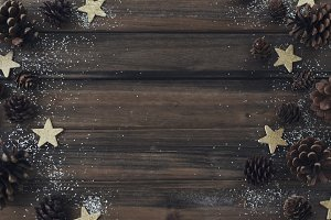 Pinecones and Stars on Wood
