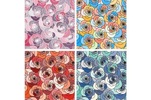 Set of 4 floral seamless pattern.