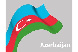Background with Azerbaijan wavy flag