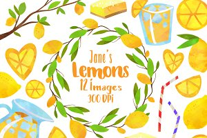 Watercolor Lemon Clipart Set