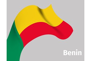 Background with Benin wavy flag