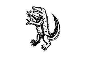 Alligator Standing Scraperboard