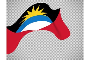 Antigua and Barbuda flag on transparent