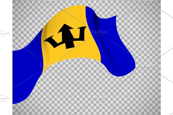Barbados Flag On Transparent Background Graphic Objects Creative