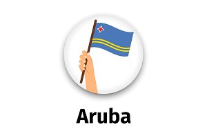 Aruba flag in hand, round icon