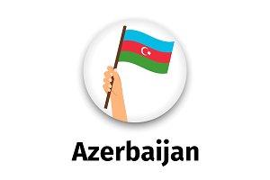 Azerbaijan flag in hand, round icon