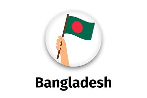 Bangladesh flag in hand, round icon