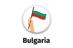 Bulgaria flag in hand, round icon