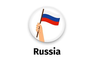 Russian flag in hand, round icon