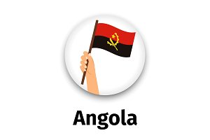 Angola flag in hand, round icon