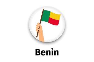 Benin flag in hand, round icon