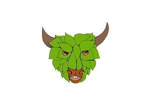 Green Bull Head Drawing