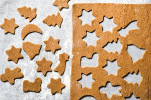 Gingerbread cookies on a parchment