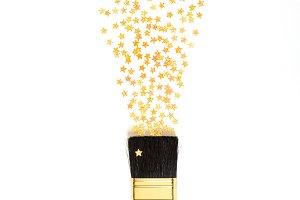 Shining stars confetti splashing from paintbrush
