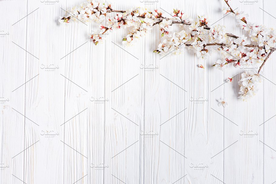 Spring White Flowers On Vintage Wooden Background Nature Photos