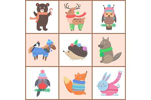 Set of Posters of Cute Animals Vector Illustration