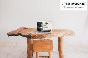 rustic wood table & chair web mockup