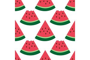 Cute hand drawn summer seamless background with fresh watermelon slices isolated on white