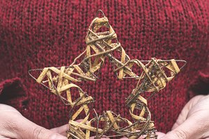 Christmas star in hands