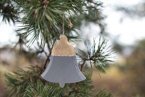 Christmas bell on fir