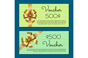 Voucher 500$ Set Gift Certificates for Discounts