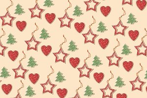 Christmas star repeated pattern