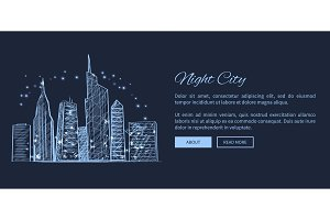 Night City Web Page and Text Vector Illustration