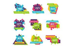 Premium Goods with Hot Super Sale Logotypes Set