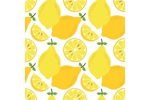 Cute hand drawn seamless pattern with lemon citrus fruit and slices isolated on white background
