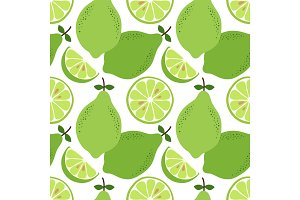Cute hand drawn seamless pattern with lime citrus fruit and slices isolated on white background