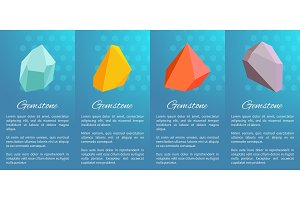 Gemstones Collection Poster on Vector Illustration
